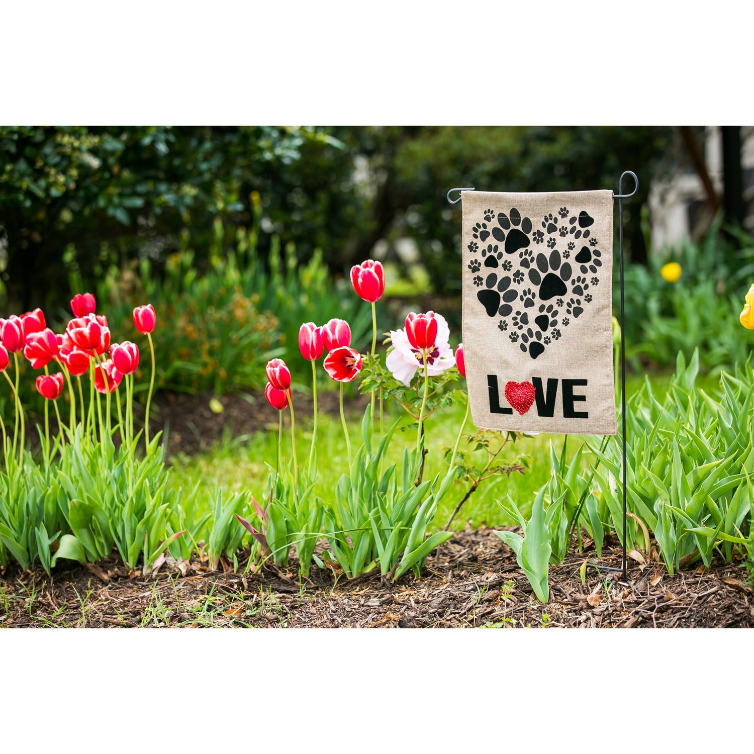 Paw Prints Heart Garden Burlap Flag