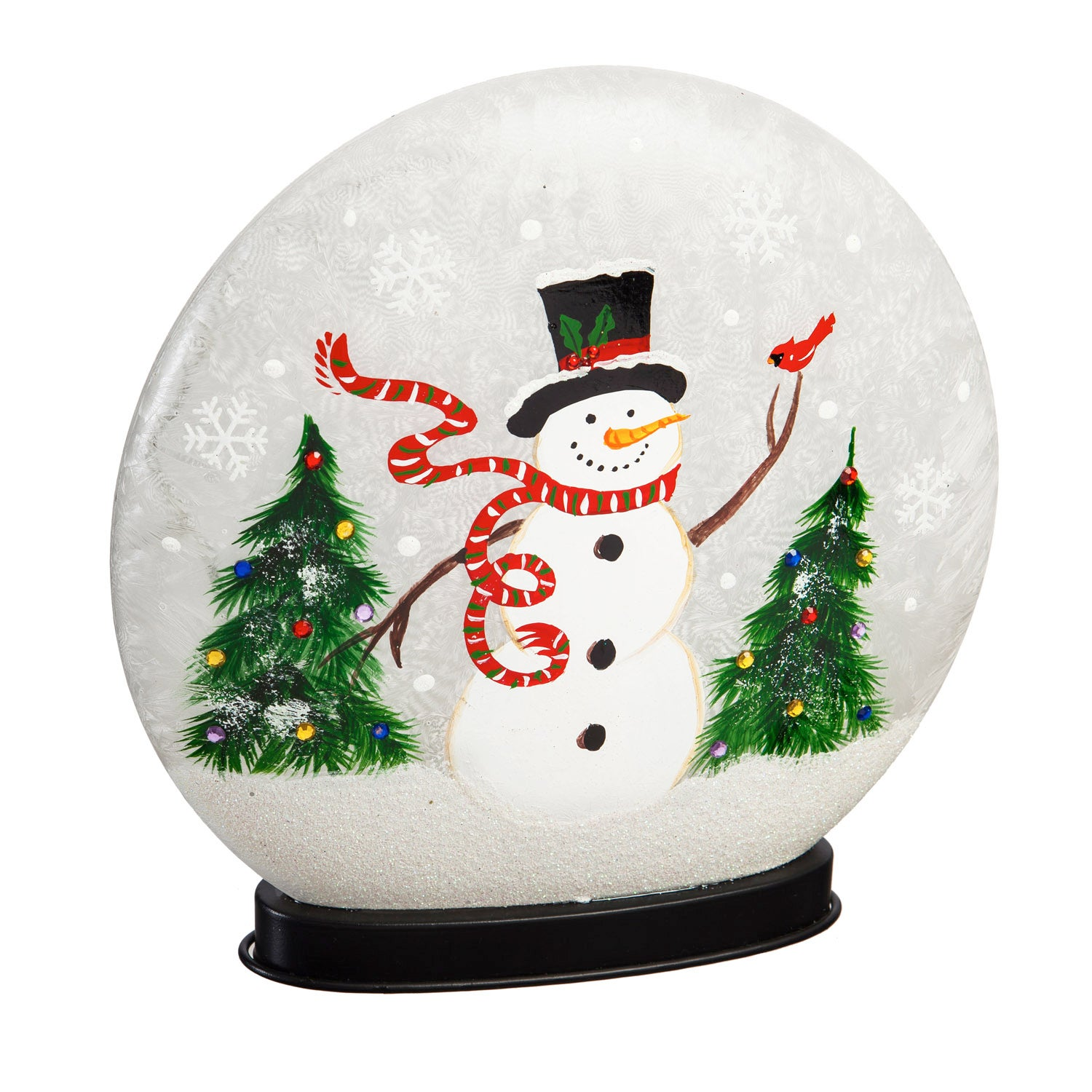 Glass Hand Painted Snowman and Cardinal LED Disc