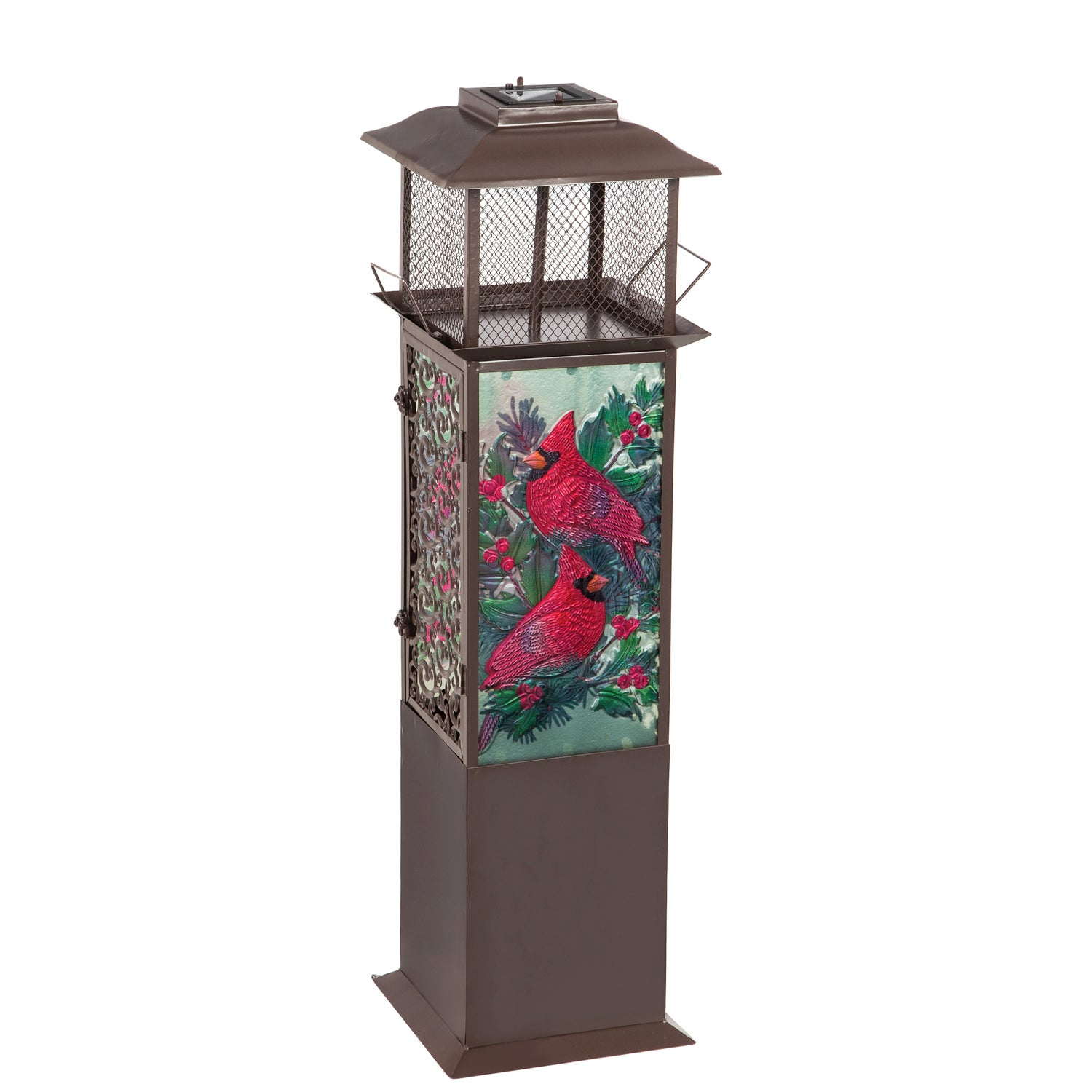 Cardinals with Spruce and Berries Solar Glass Panel Statement Lantern