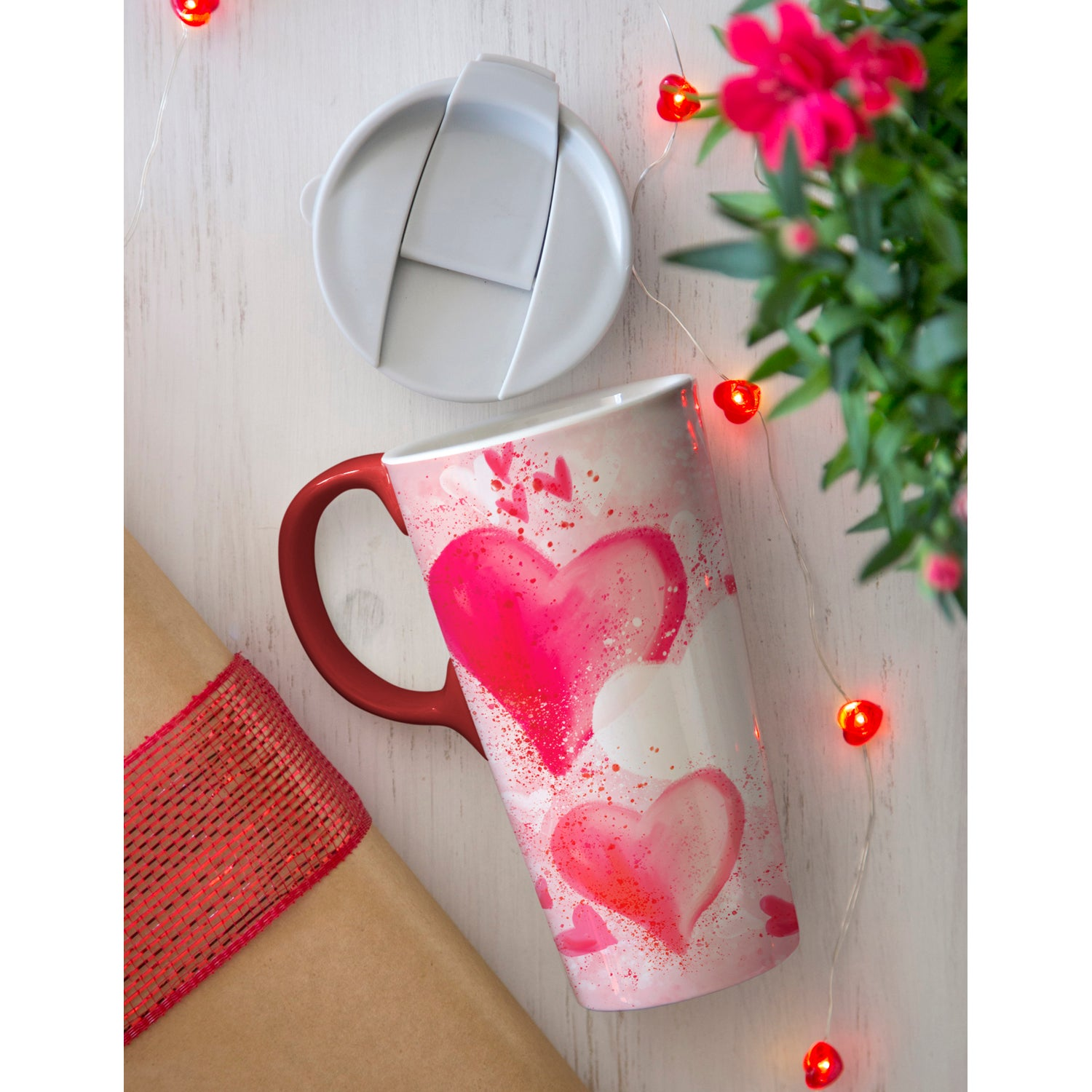 Beautiful Ride Hearts Ceramic Travel Cup
