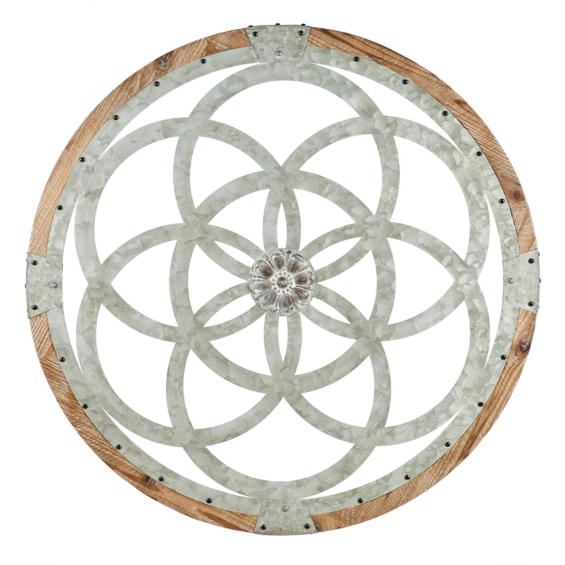Galvanized Metal And Wood Medallion Wall Decor Set of Two