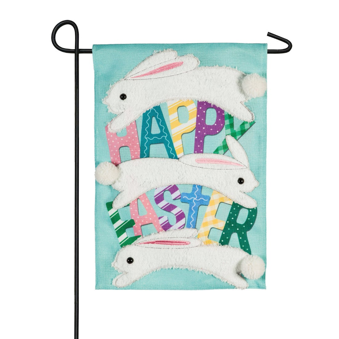 Happy Easter Jumping Bunnies Garden Burlap Flag