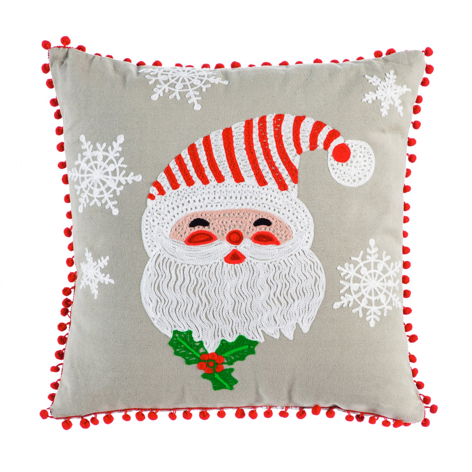 Holiday Smiling Santa Square Pillow with Red Pom Pom Fringe