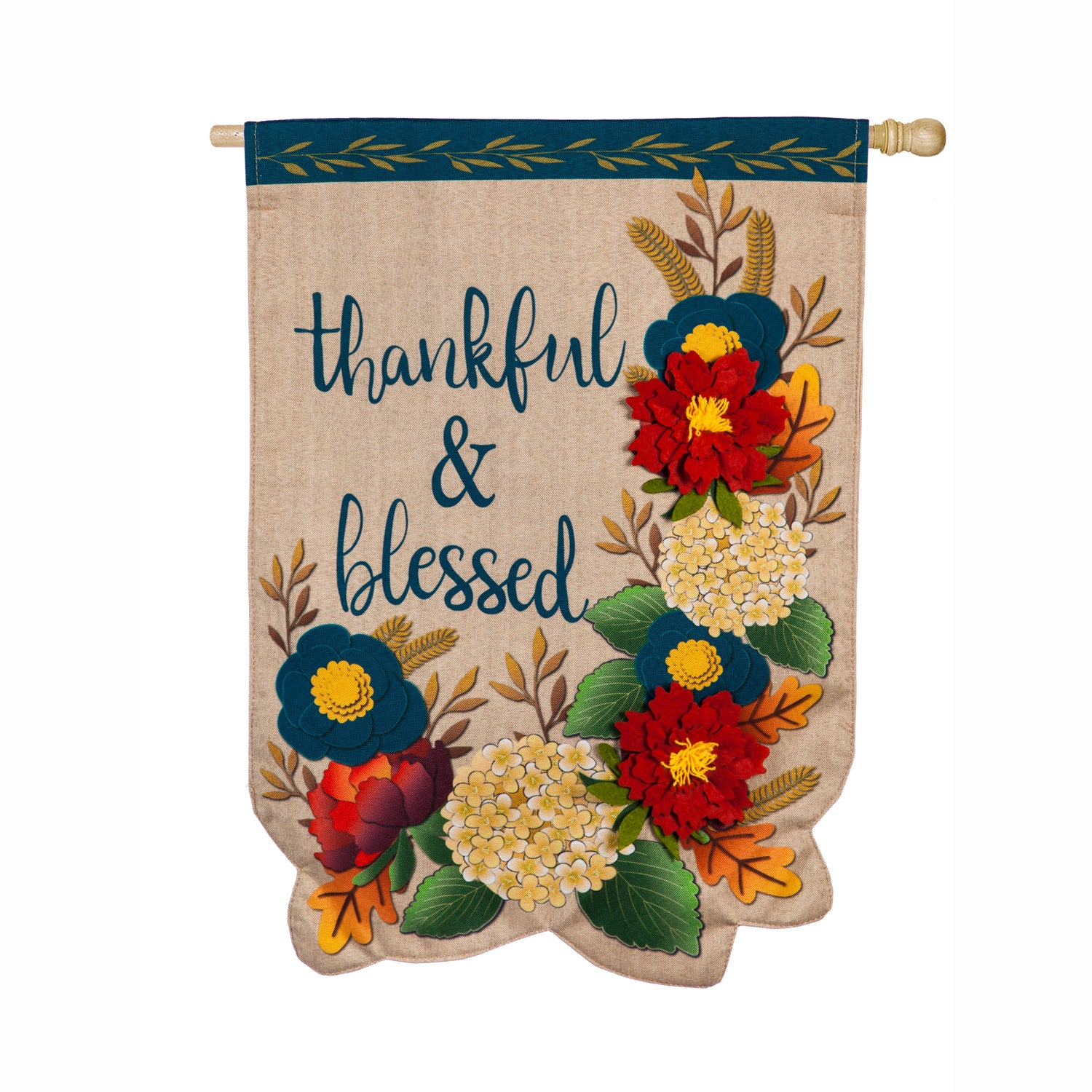 Thankful and Blessed Floral Linen House Flag