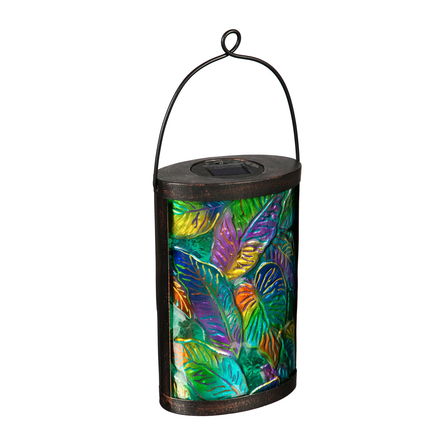 Tropical Palm Leaves Hand Painted Solar Glass Lantern