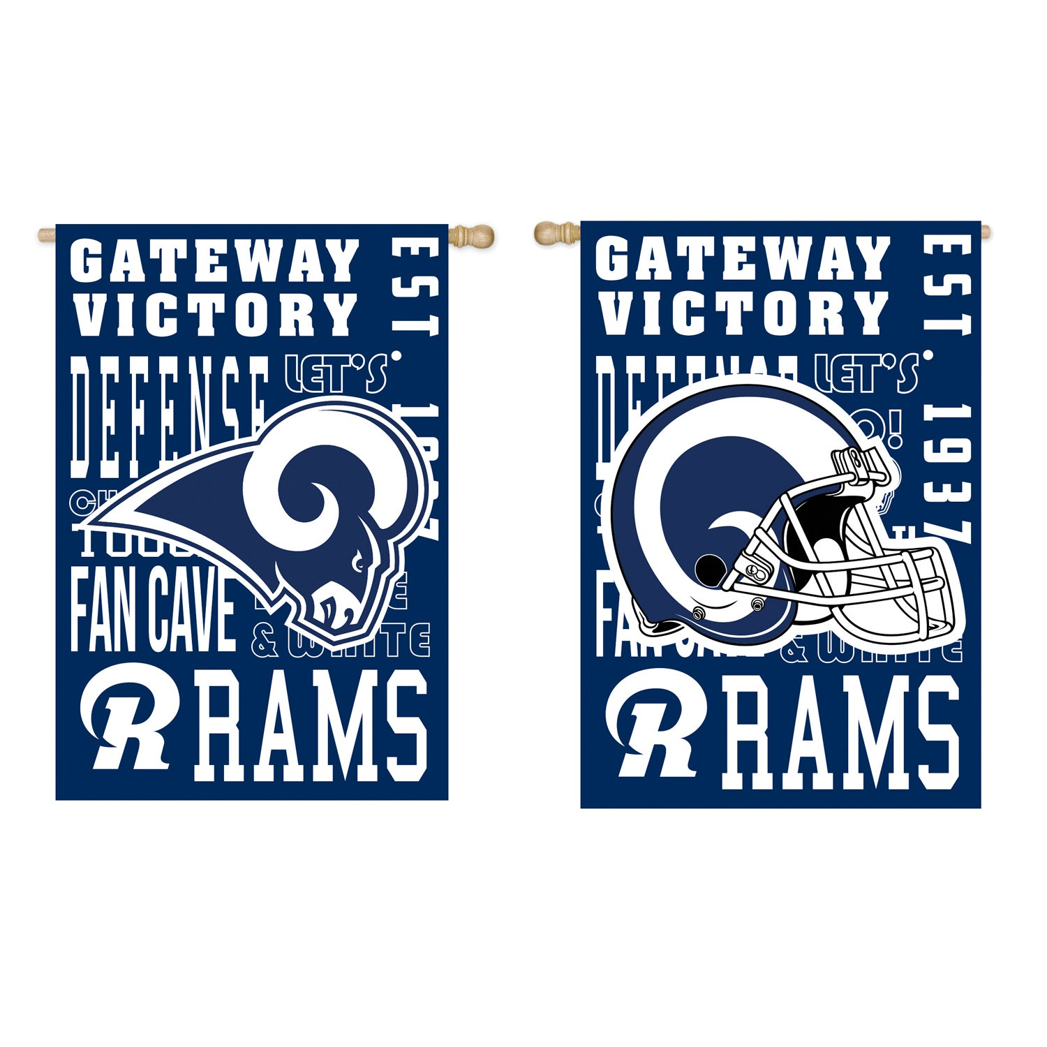 Double-Sided Los Angeles Rams Fan Rules Suede House Flag