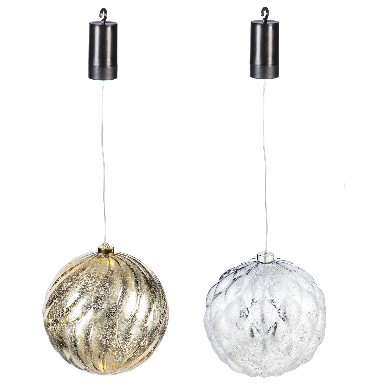 "Gold and Silver 8"" Shatterproof Outdoor-Safe Battery Operated LED Round Acrylic Ornaments, Set of 2"