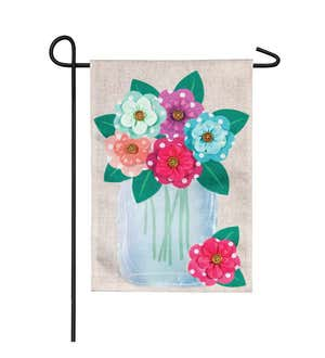 Image of Polka Dot Floral Mason Jar Garden Burlap Flag
