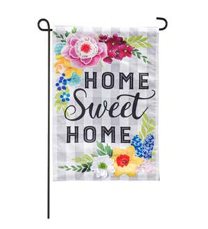 Image of Home Sweet Home Plaid Floral Garden Linen Flag
