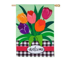Image of Welcome Spring Tulips House Applique Flag