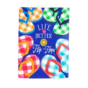 Image of Plaid Flip Flops Garden Applique Flag